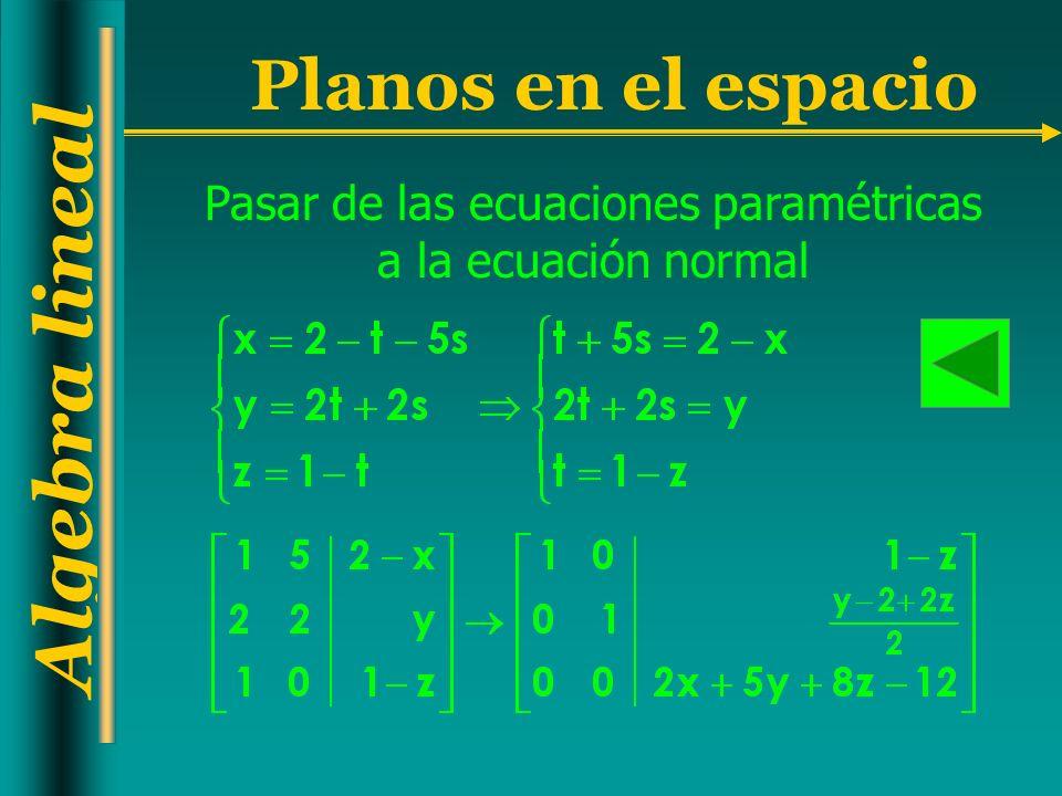 Algebra lineal Planos en el espacio Pasar de las ecuaciones paramétricas a la ecuación normal