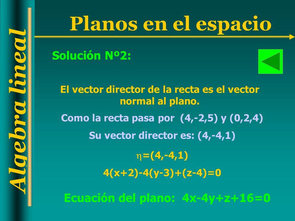 Algebra lineal Planos en el espacio El vector director de la recta es el vector normal al plano. Como la recta pasa por (4,-2,5) y (0,2,4) Su vector d