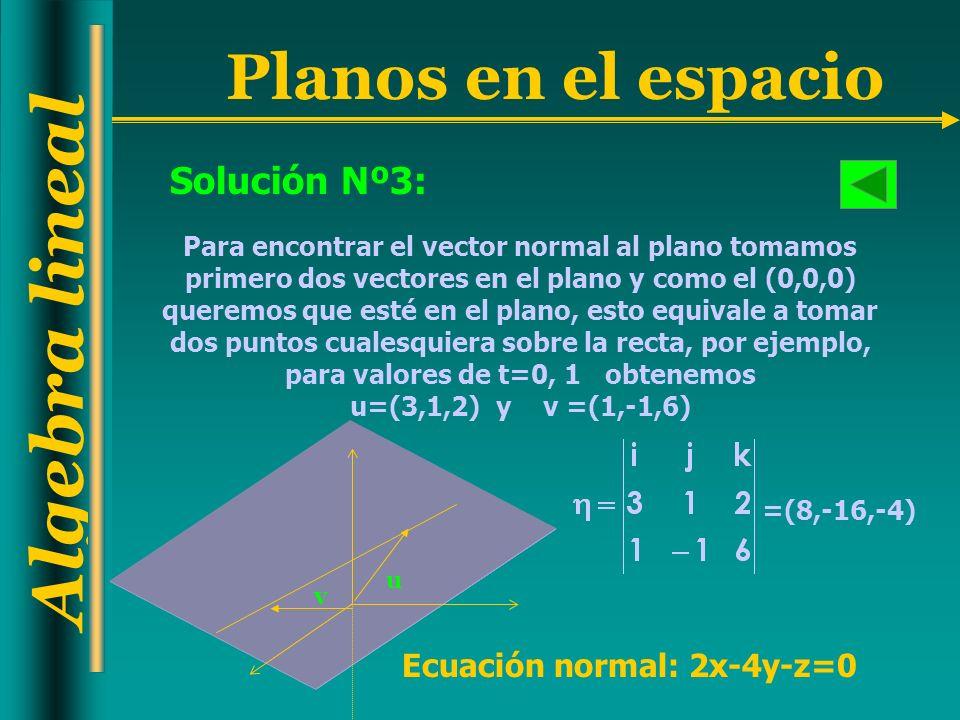 Algebra lineal Planos en el espacio Solución Nº3: Para encontrar el vector normal al plano tomamos primero dos vectores en el plano y como el (0,0,0)
