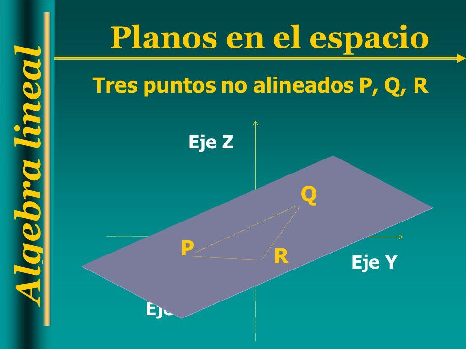 Algebra lineal Planos en el espacio Ecuación del plano que pasa por los tres puntos no alineados P(p 1,p 2,p 3 ), Q(q 1,q 2,q 3 ), R=(r 1,r 2,r 3 ) ax+by+cz=d Ecuación normal (a,b,c)=