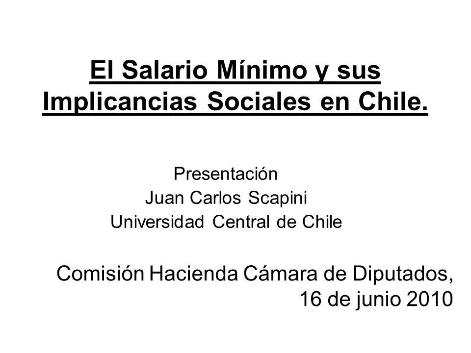 El Salario Mínimo y sus Implicancias Sociales en Chile. Presentación Juan Carlos Scapini Universidad Central de Chile Comisión Hacienda Cámara de Dipu