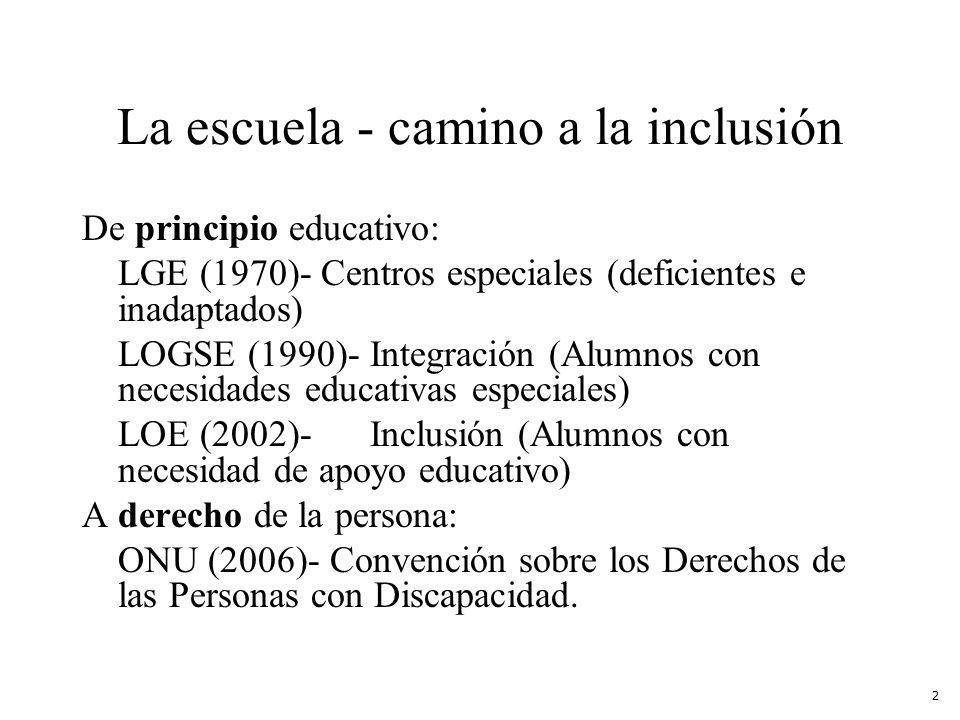 La escuela - camino a la inclusión De principio educativo: LGE (1970)- Centros especiales (deficientes e inadaptados) LOGSE (1990)-Integración (Alumnos con necesidades educativas especiales) LOE (2002)-Inclusión (Alumnos con necesidad de apoyo educativo) A derecho de la persona: ONU (2006)- Convención sobre los Derechos de las Personas con Discapacidad.