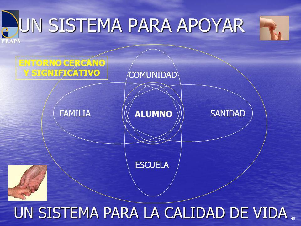 FEAPS UN SISTEMA PARA APOYAR ALUMNO FAMILIA ESCUELA SANIDAD COMUNIDAD ENTORNO CERCANO Y SIGNIFICATIVO UN SISTEMA PARA LA CALIDAD DE VIDA 49