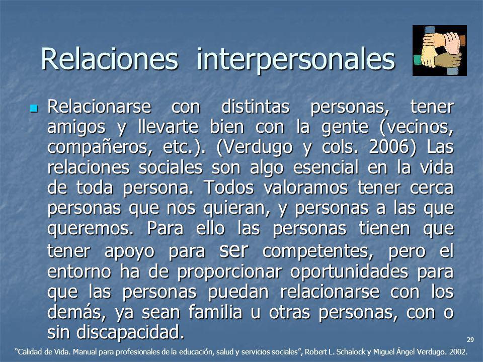 Relaciones interpersonales Relacionarse con distintas personas, tener amigos y llevarte bien con la gente (vecinos, compañeros, etc.). (Verdugo y cols