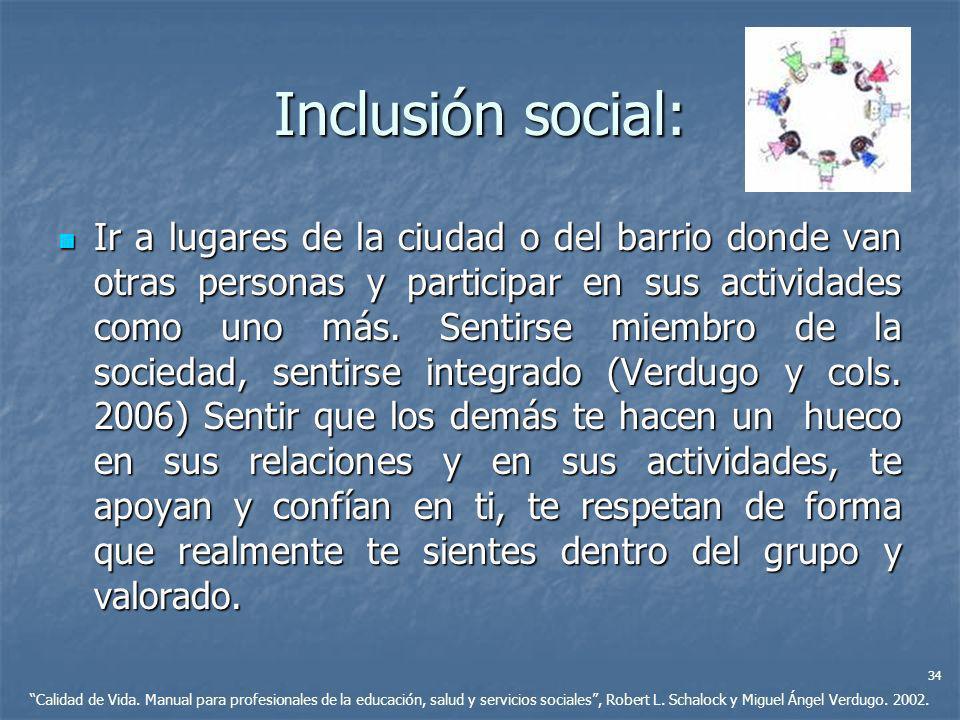 Inclusión social: Ir a lugares de la ciudad o del barrio donde van otras personas y participar en sus actividades como uno más. Sentirse miembro de la
