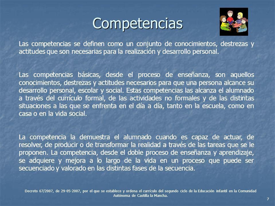 Competencias Las competencias se definen como un conjunto de conocimientos, destrezas y actitudes que son necesarias para la realización y desarrollo