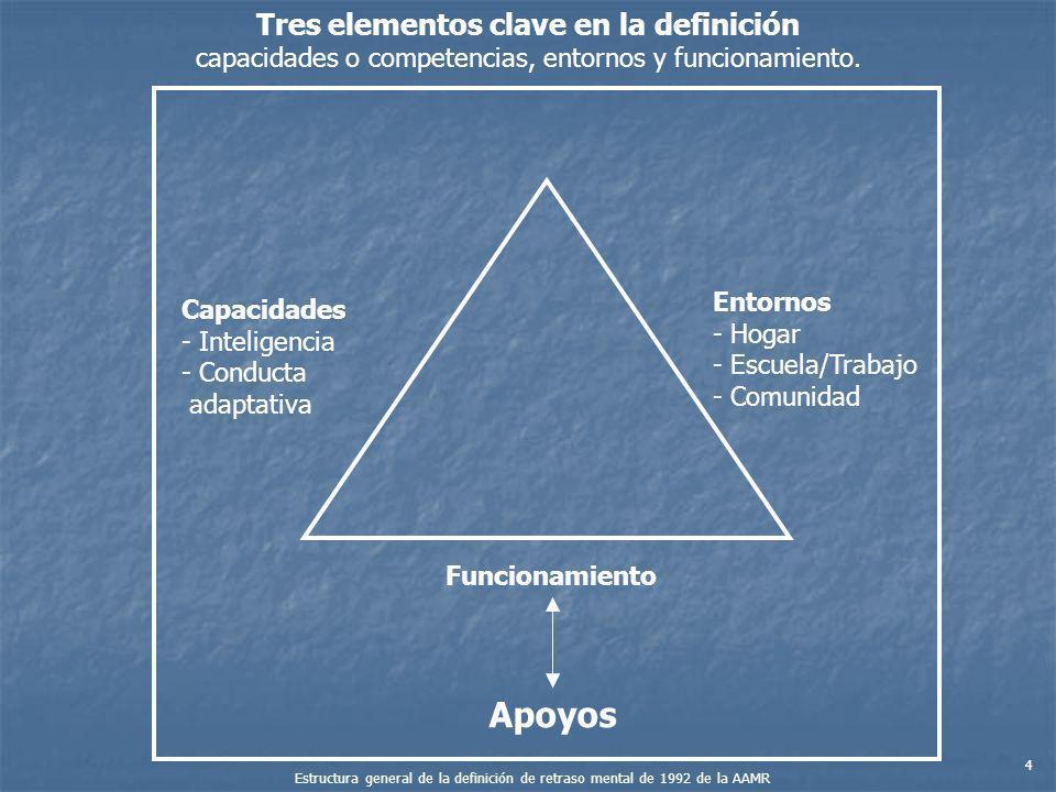 Tres elementos clave en la definición capacidades o competencias, entornos y funcionamiento. Capacidades - Inteligencia - Conducta adaptativa Entornos