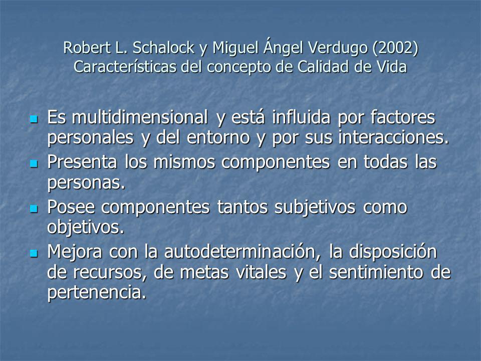 Robert L. Schalock y Miguel Ángel Verdugo (2002) Características del concepto de Calidad de Vida Es multidimensional y está influida por factores pers