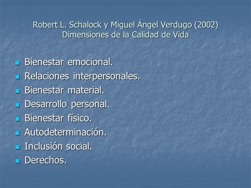 Robert L. Schalock y Miguel Ángel Verdugo (2002) Dimensiones de la Calidad de Vida Bienestar emocional. Bienestar emocional. Relaciones interpersonale