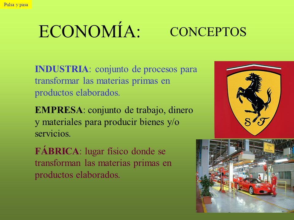 ECONOMÍA: CONCEPTOS INDUSTRIA: conjunto de procesos para transformar las materias primas en productos elaborados. EMPRESA: conjunto de trabajo, dinero