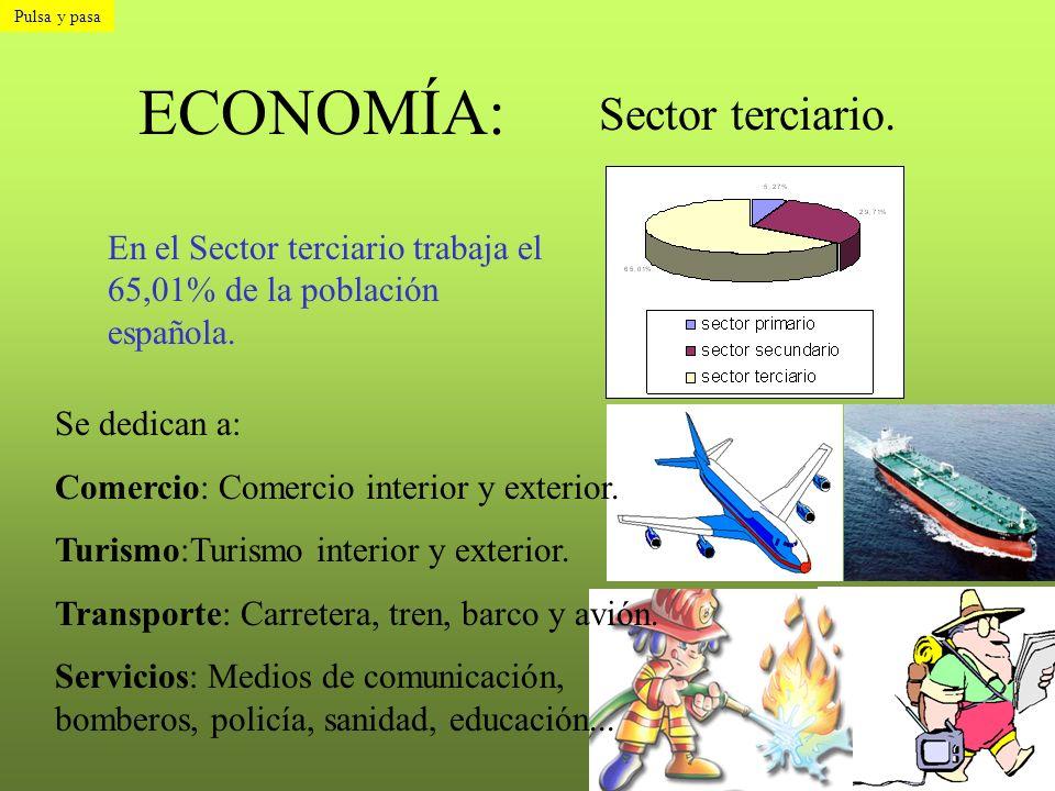 ECONOMÍA: Sector terciario. En el Sector terciario trabaja el 65,01% de la población española. Se dedican a: Comercio: Comercio interior y exterior. T