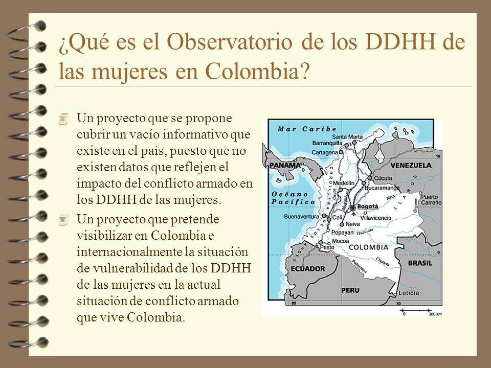 ¿Qué es el Observatorio de los DDHH de las mujeres en Colombia? 4 Un proyecto que se propone cubrir un vacío informativo que existe en el país, puesto