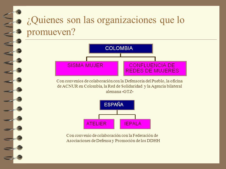 ¿Quienes son las organizaciones que lo promueven? Con convenios de colaboración con la Defensoría del Pueblo, la oficina de ACNUR en Colombia, la Red