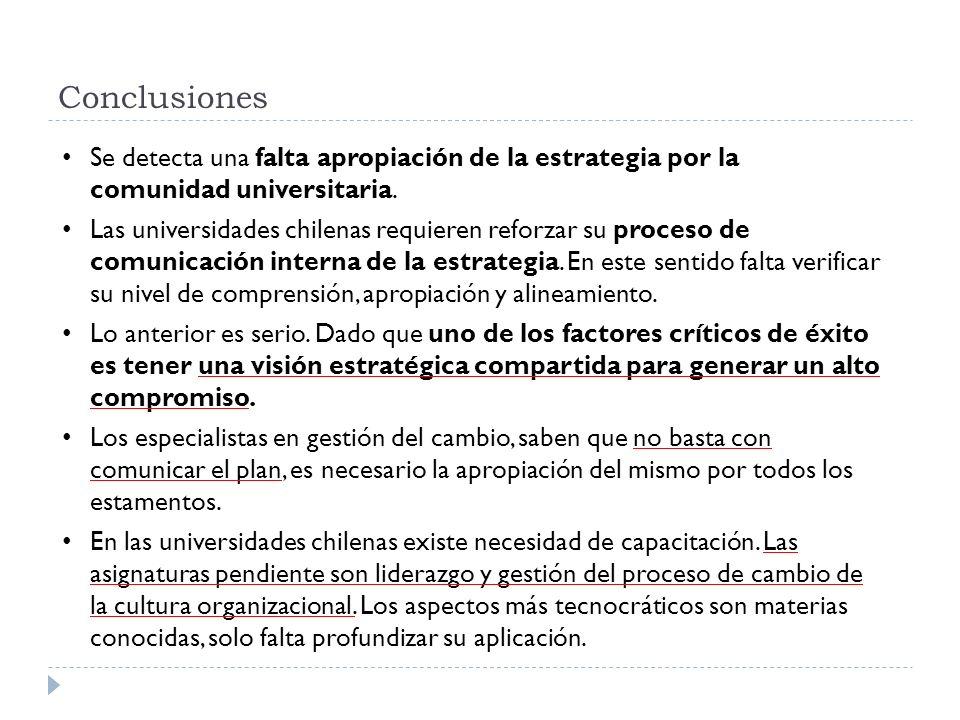 Se detecta una falta apropiación de la estrategia por la comunidad universitaria. Las universidades chilenas requieren reforzar su proceso de comunica
