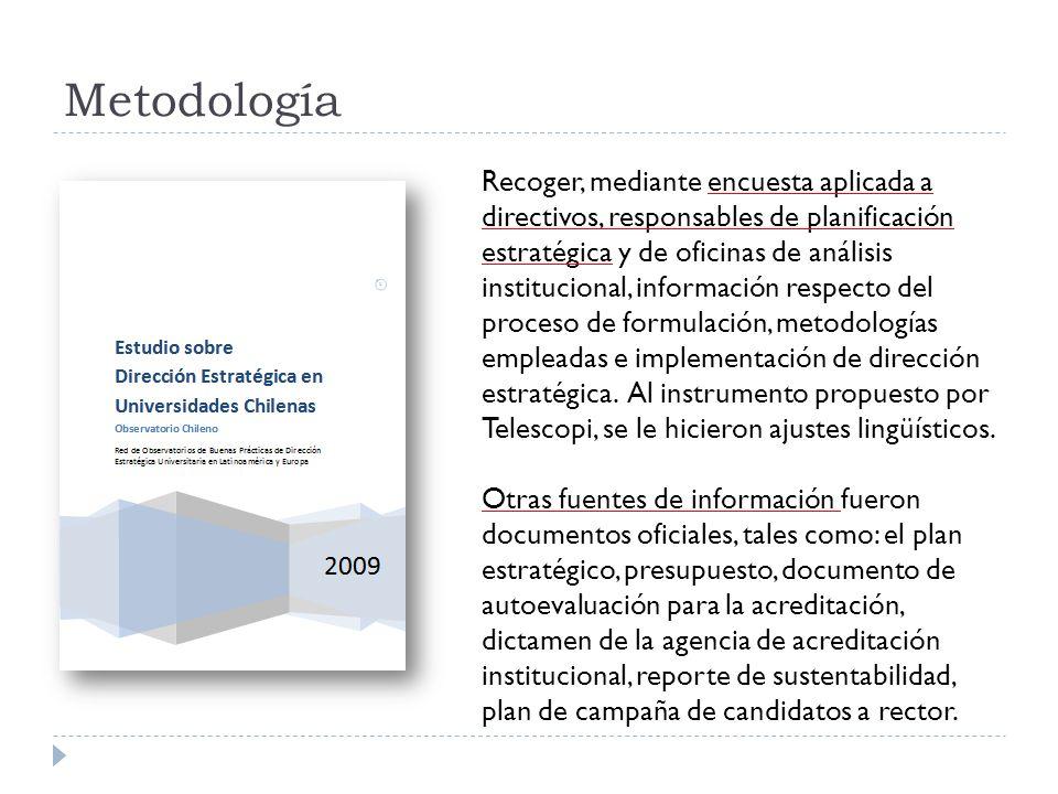 Metodología Universo encuestado: Todas las universidades chilenas: 60.- 25 del Consejo de Rectores (CRUCH) (16 de ellas son públicas) y 35 privadas.