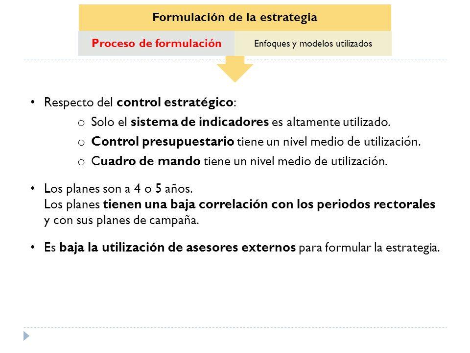 Formulación de la estrategia Proceso de formulación Enfoques y modelos utilizados Respecto del control estratégico: o Solo el sistema de indicadores e