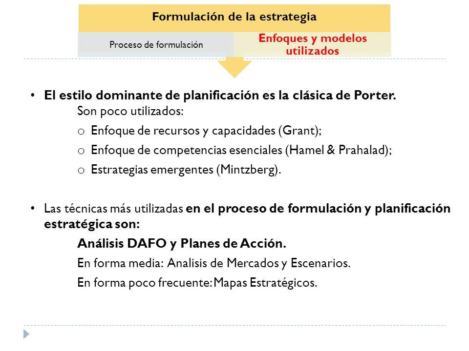 Formulación de la estrategia Proceso de formulación Enfoques y modelos utilizados El estilo dominante de planificación es la clásica de Porter. Son po