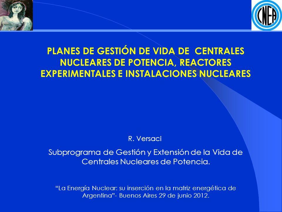 PLANES DE GESTIÓN DE VIDA DE CENTRALES NUCLEARES DE POTENCIA, REACTORES EXPERIMENTALES E INSTALACIONES NUCLEARES R.