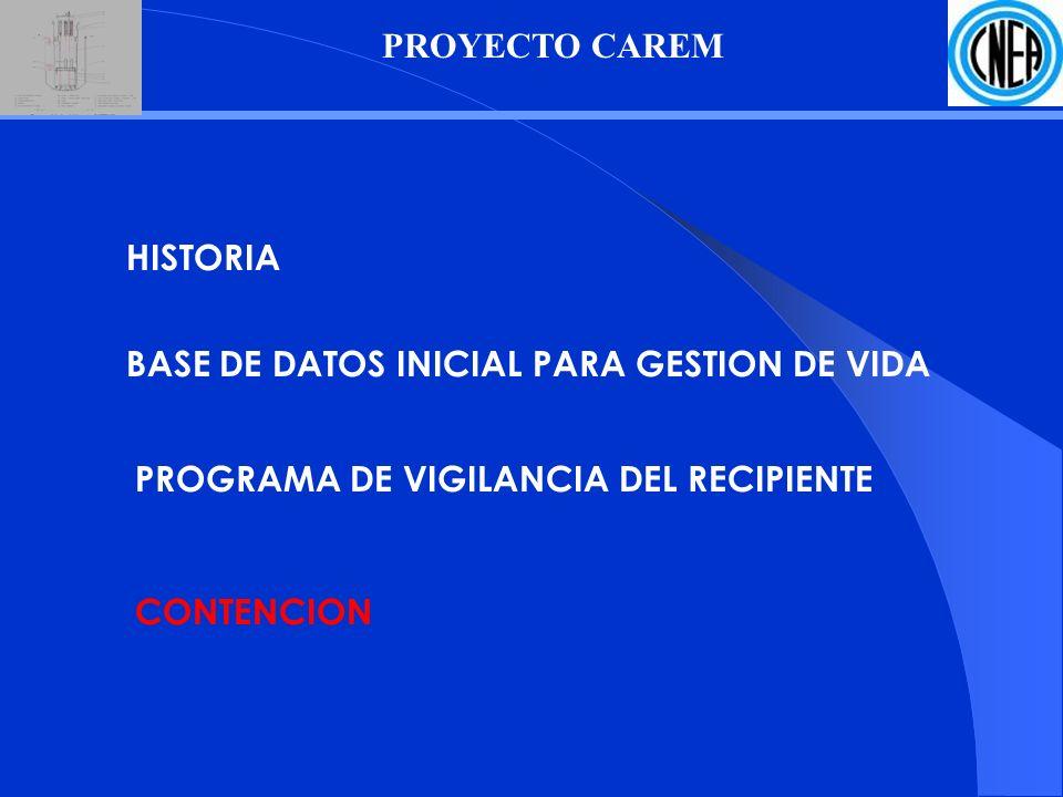 PROYECTO CAREM HISTORIA PROGRAMA DE VIGILANCIA DEL RECIPIENTE CONTENCION BASE DE DATOS INICIAL PARA GESTION DE VIDA