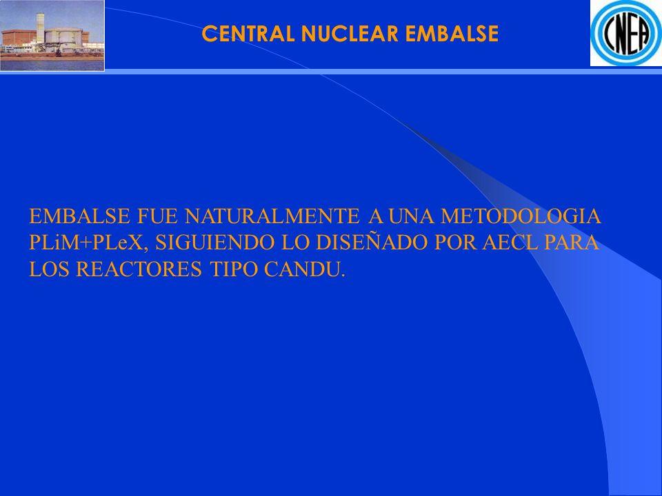 CENTRAL NUCLEAR EMBALSE EMBALSE FUE NATURALMENTE A UNA METODOLOGIA PLiM+PLeX, SIGUIENDO LO DISEÑADO POR AECL PARA LOS REACTORES TIPO CANDU.