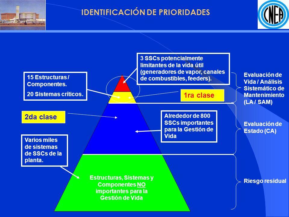 IDENTIFICACIÓN DE PRIORIDADES Estructuras, Sistemas y Componentes NO importantes para la Gestión de Vida 15 Estructuras / Componentes.