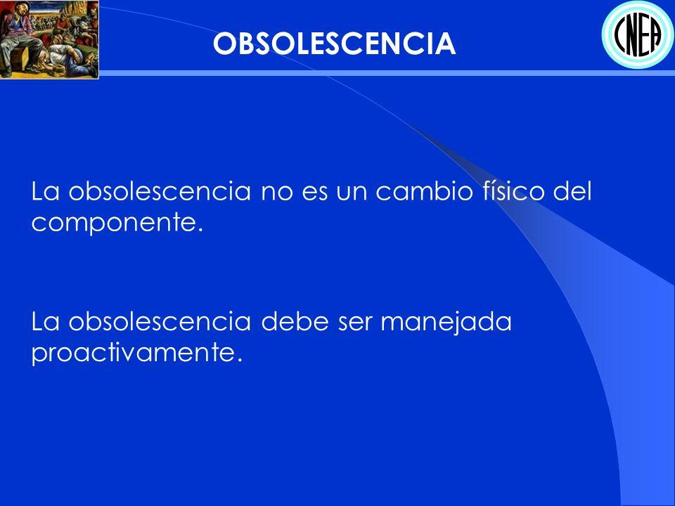 OBSOLESCENCIA La obsolescencia no es un cambio físico del componente.