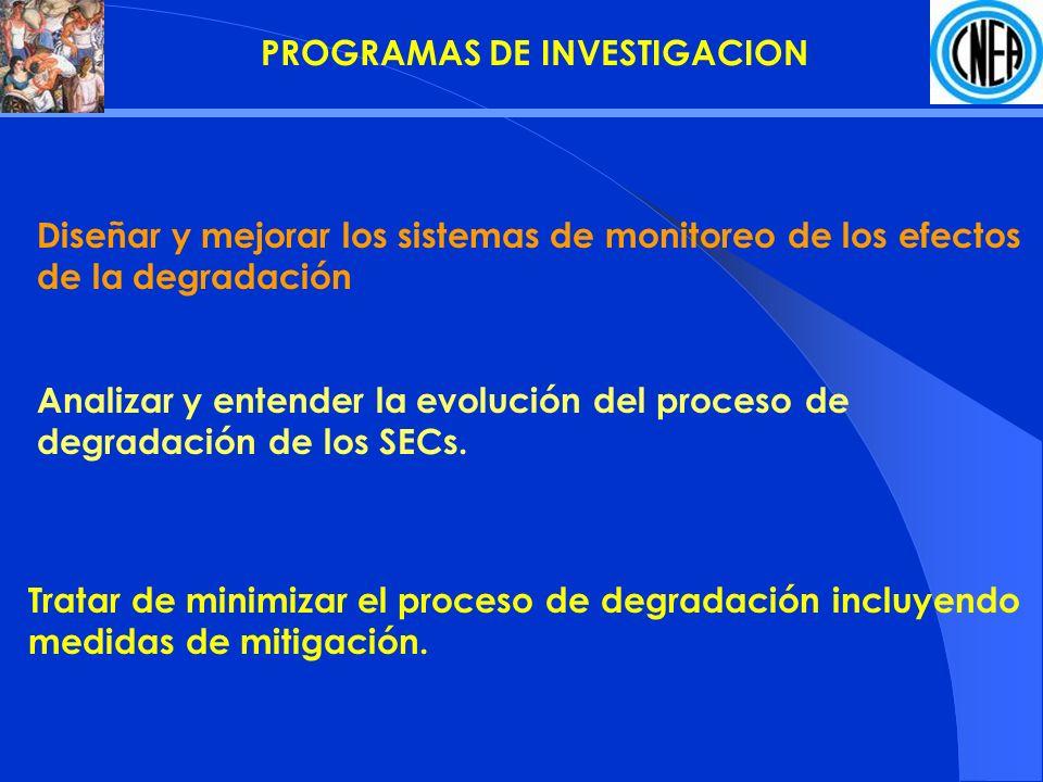 Diseñar y mejorar los sistemas de monitoreo de los efectos de la degradación Analizar y entender la evolución del proceso de degradación de los SECs.
