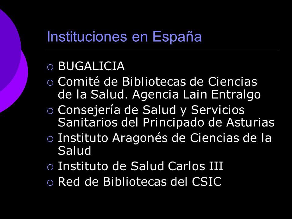 Instituciones en España BUGALICIA Comité de Bibliotecas de Ciencias de la Salud.