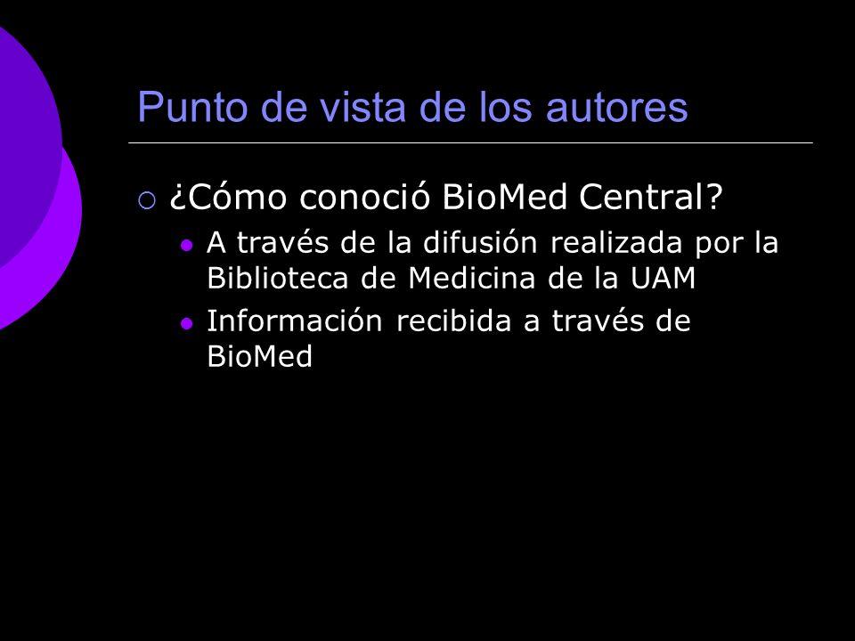 Punto de vista de los autores ¿Cómo conoció BioMed Central.
