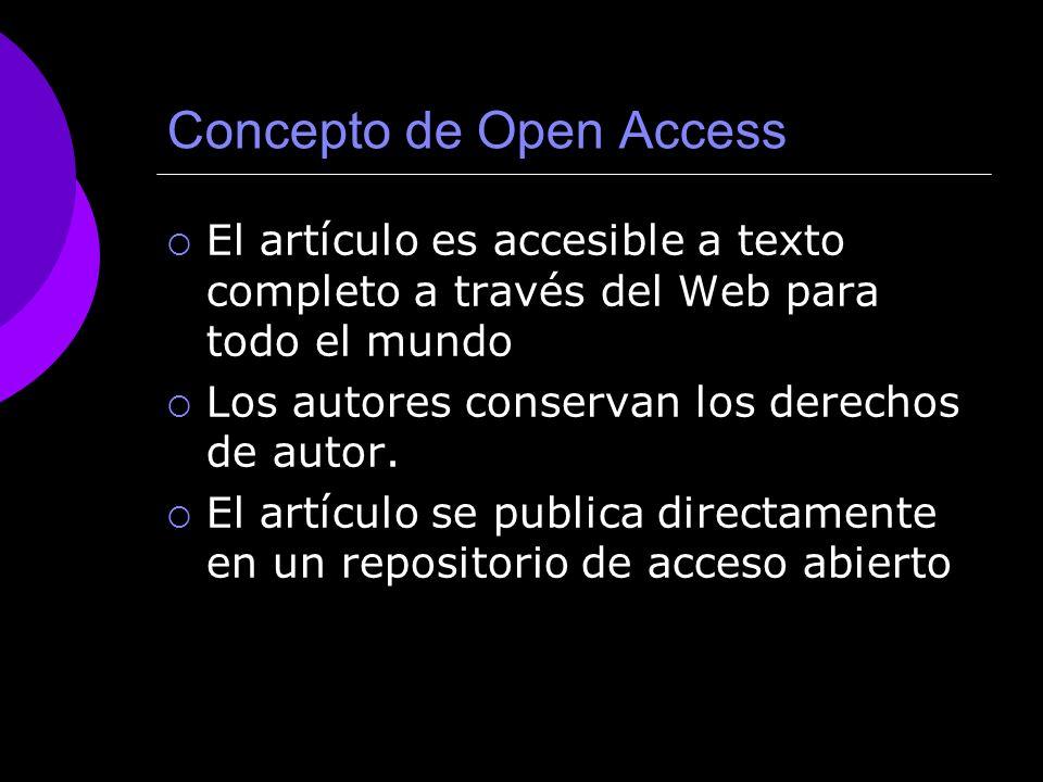 Concepto de Open Access El artículo es accesible a texto completo a través del Web para todo el mundo Los autores conservan los derechos de autor.