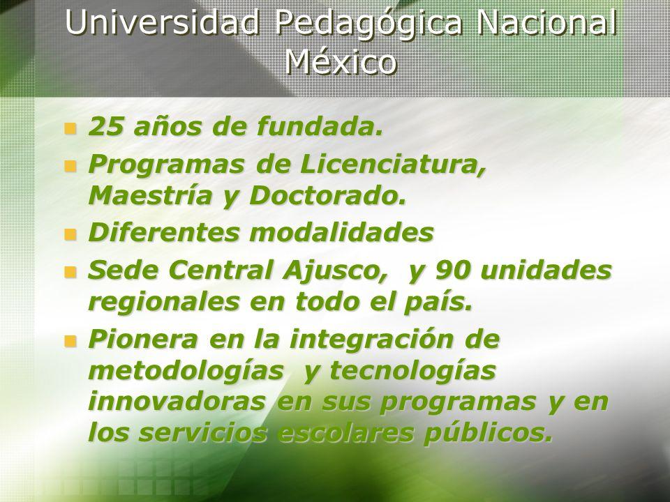 Universidad Pedagógica Nacional México 25 años de fundada. 25 años de fundada. Programas de Licenciatura, Maestría y Doctorado. Programas de Licenciat