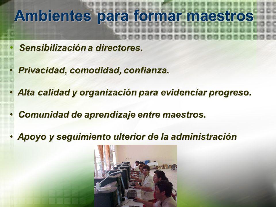 Ambientes para formar maestros Sensibilización a directores. Privacidad, comodidad, confianza. Privacidad, comodidad, confianza. Alta calidad y organi
