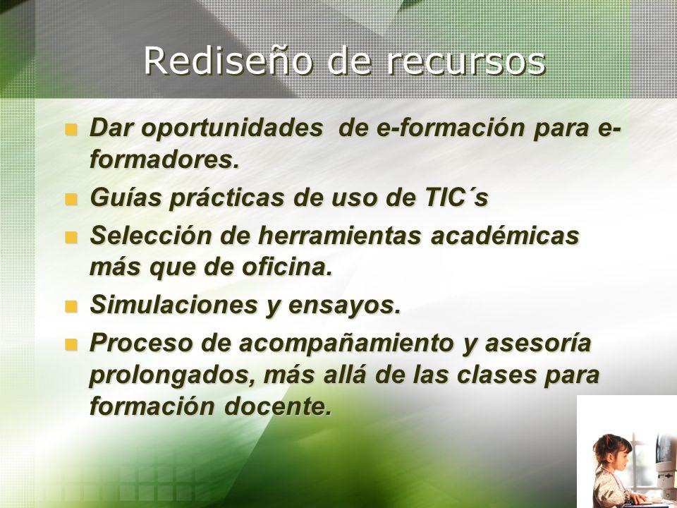 Rediseño de recursos Dar oportunidades de e-formación para e- formadores. Dar oportunidades de e-formación para e- formadores. Guías prácticas de uso