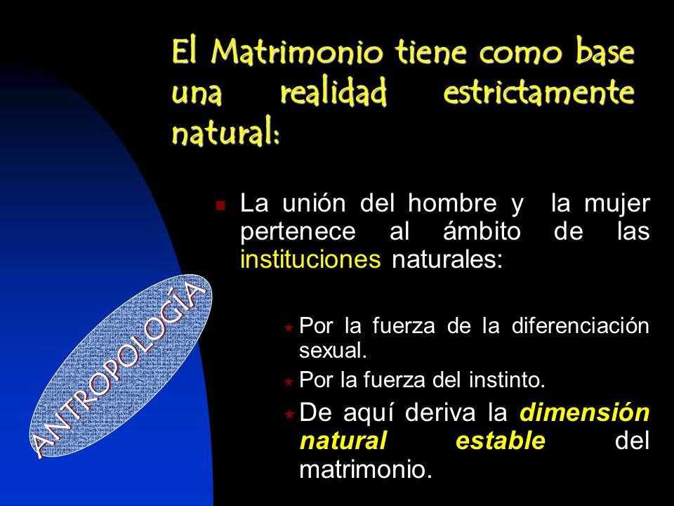 La unión del hombre y la mujer pertenece al ámbito de las instituciones naturales: La unión del hombre y la mujer pertenece al ámbito de las instituci