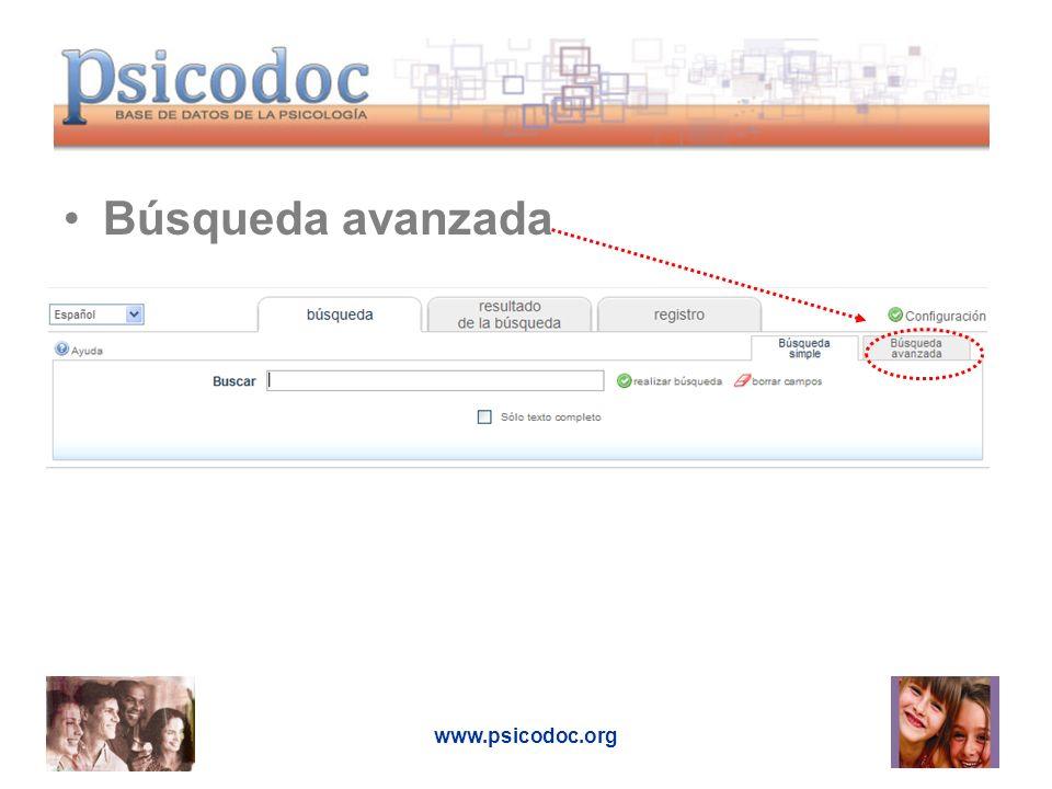 www.psicodoc.org Búsqueda avanzada