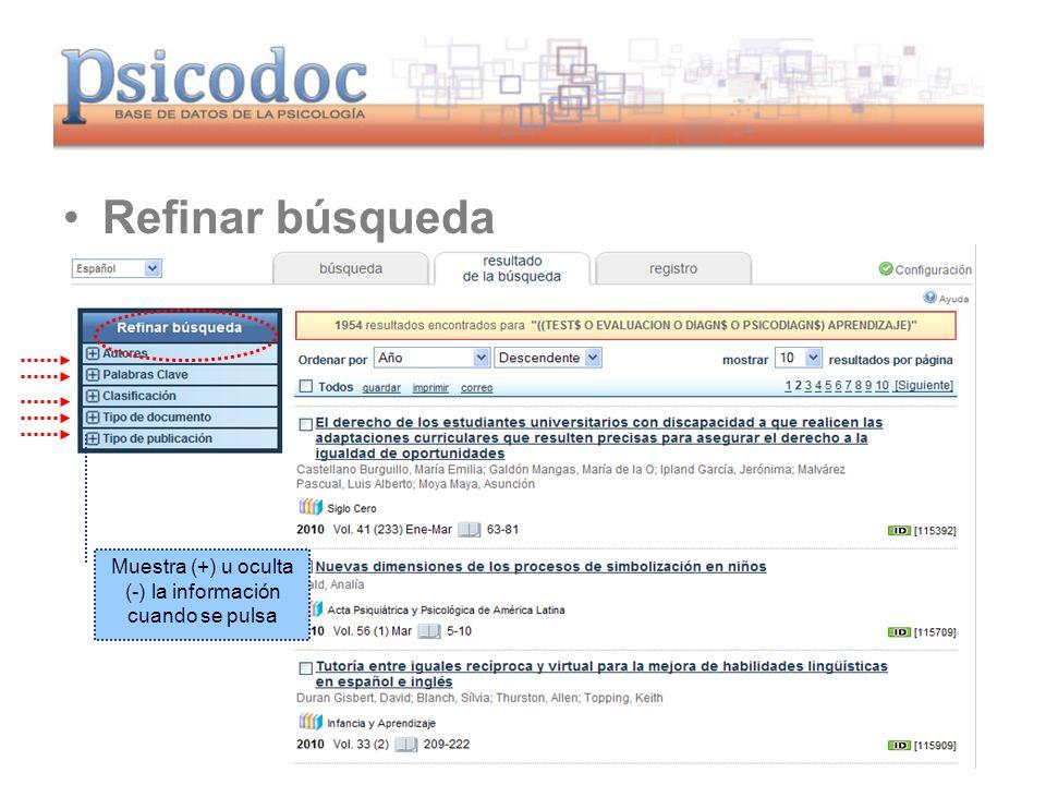 www.psicodoc.org Refinar búsqueda Muestra (+) u oculta (-) la información cuando se pulsa