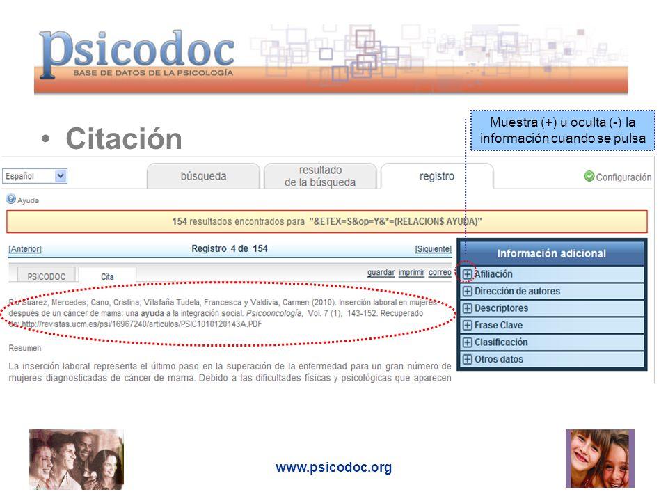 www.psicodoc.org Citación Muestra (+) u oculta (-) la información cuando se pulsa