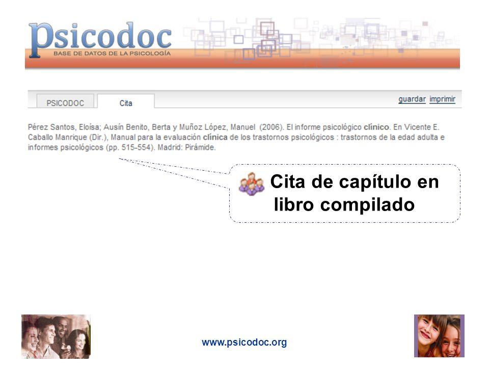 www.psicodoc.org Cita de capítulo en libro compilado