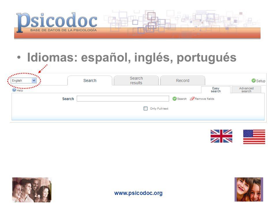 www.psicodoc.org Idiomas: español, inglés, portugués