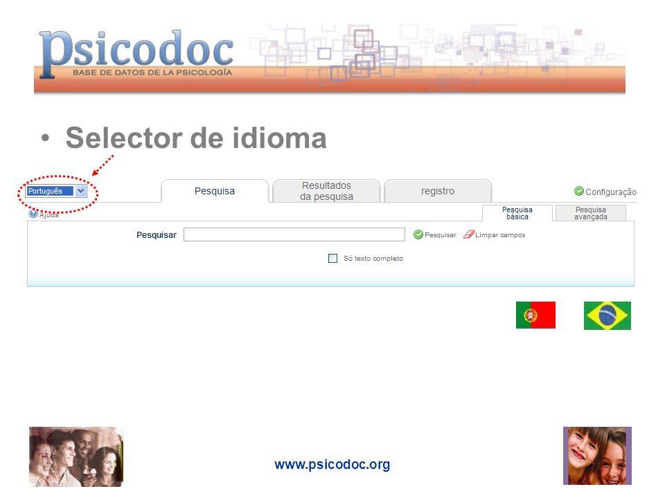 www.psicodoc.org Selector de idioma