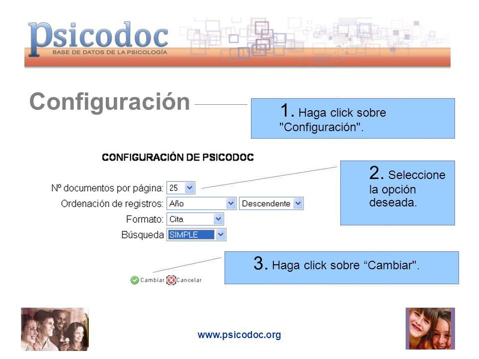 www.psicodoc.org Búsqueda simple 1.Introduzca las palabras que definen su búsqueda.
