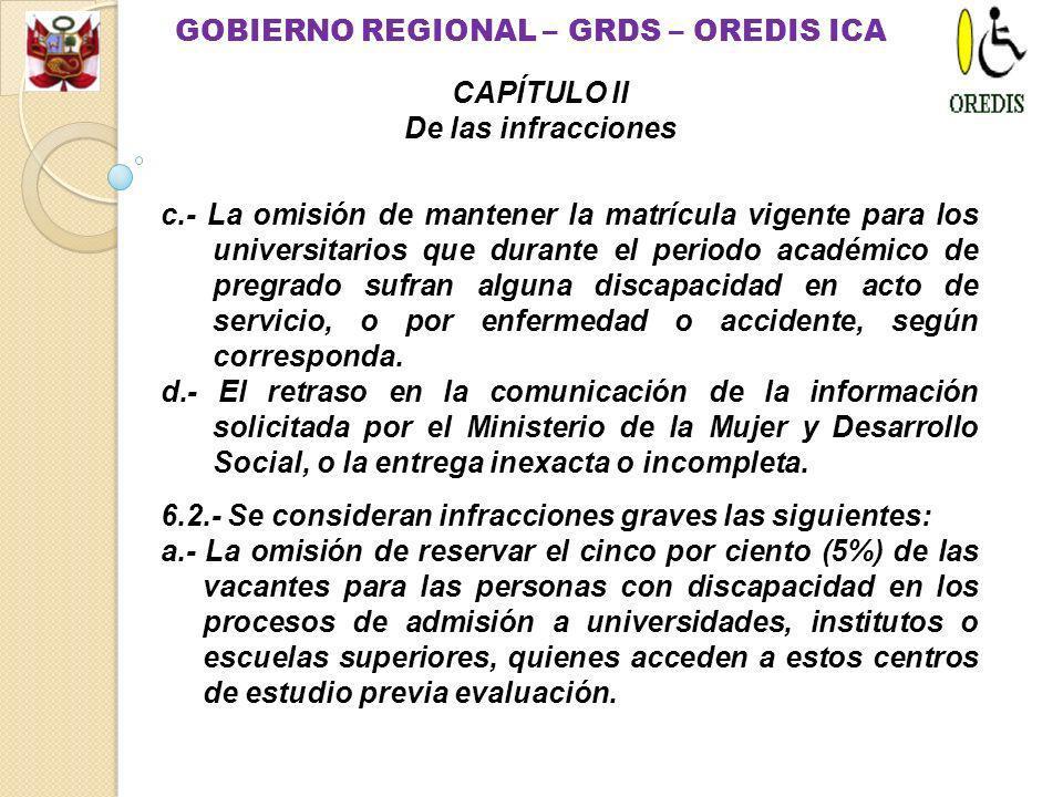 Artículo 6.- Infracciones.