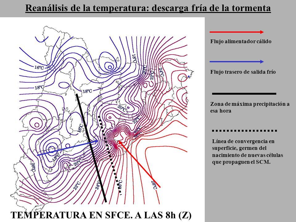 Reanálisis de la temperatura: descarga fría de la tormenta TEMPERATURA EN SFCE.