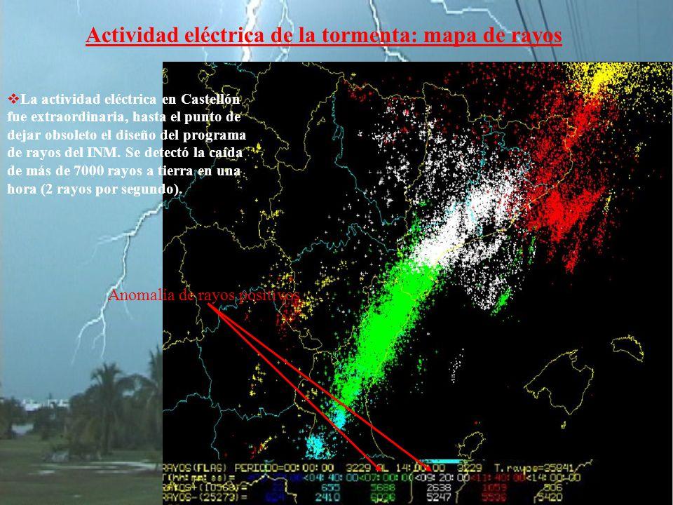 Actividad eléctrica de la tormenta: mapa de rayos Anomalía de rayos positivos La actividad eléctrica en Castellón fue extraordinaria, hasta el punto de dejar obsoleto el diseño del programa de rayos del INM.