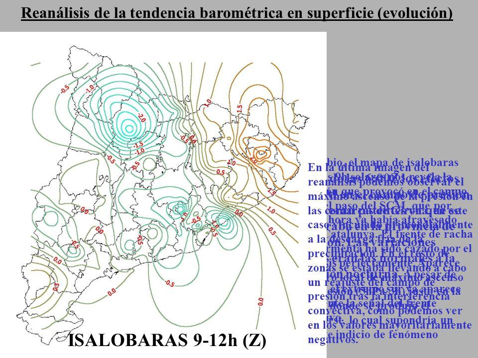 Reanálisis de la tendencia barométrica en superficie (evolución) ISALOBARAS 3-6h(Z) Antes de las 6:00Z los efectos del SCM en el campo de presión aún no eran patentes ya que se encontraba en la provincia de Castellón.