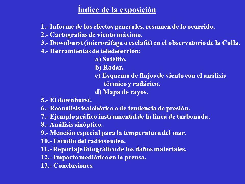 Índice de la exposición 1.- Informe de los efectos generales, resumen de lo ocurrido.