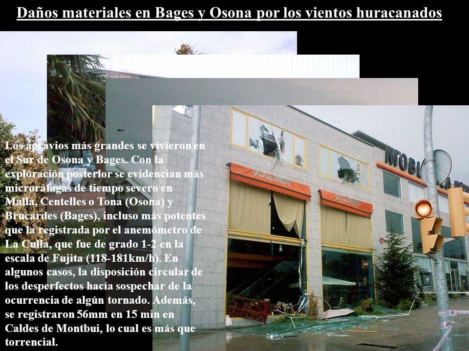Daños materiales en Bages y Osona por los vientos huracanados Los agravios más grandes se vivieron en el Sur de Osona y Bages.