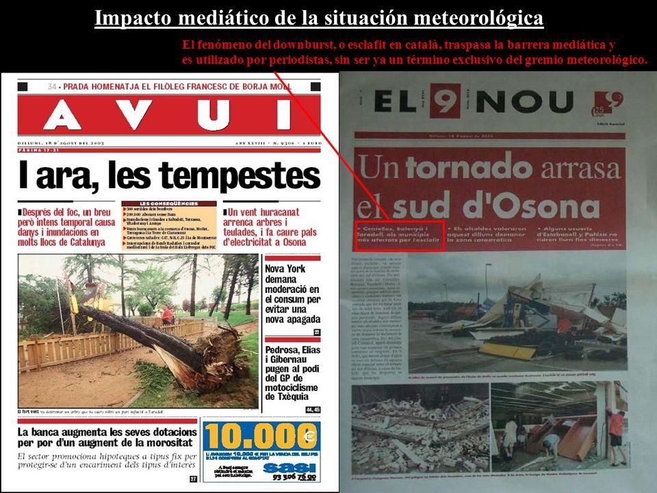 Impacto mediático de la situación meteorológica El fenómeno del downburst, o esclafit en català, traspasa la barrera mediática y es utilizado por periodistas, sin ser ya un término exclusivo del gremio meteorológico.
