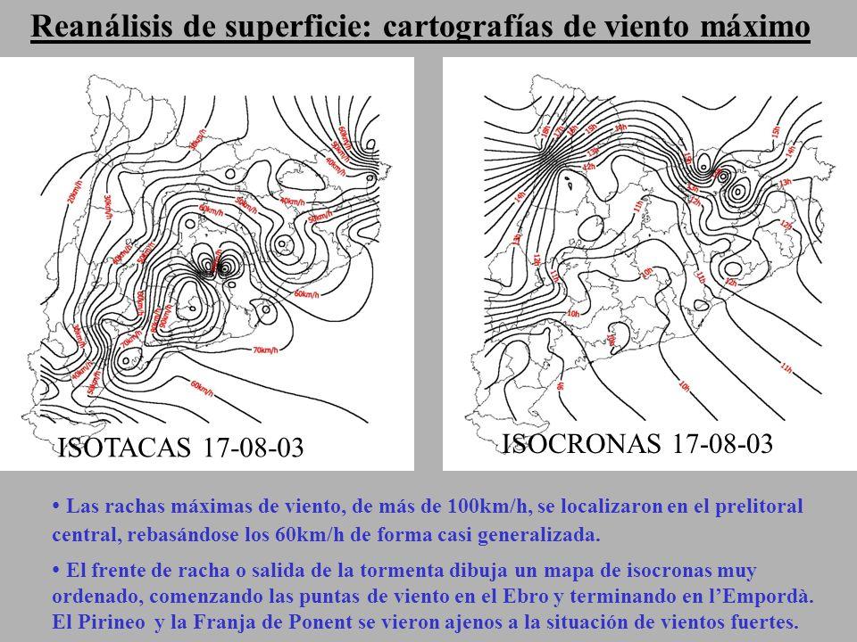 Reanálisis de superficie: cartografías de viento máximo Las rachas máximas de viento, de más de 100km/h, se localizaron en el prelitoral central, rebasándose los 60km/h de forma casi generalizada.