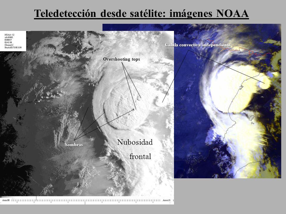 Teledetección desde satélite: imágenes NOAA Overshooting tops Sombras Nubosidad frontal Célula convectiva independiente